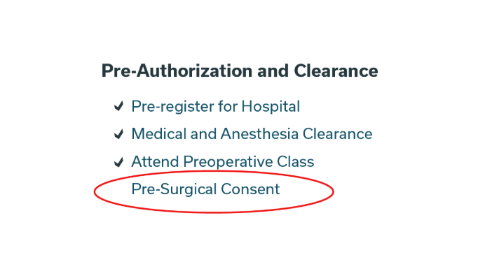 Healthcare — Pre-op Education & Consent