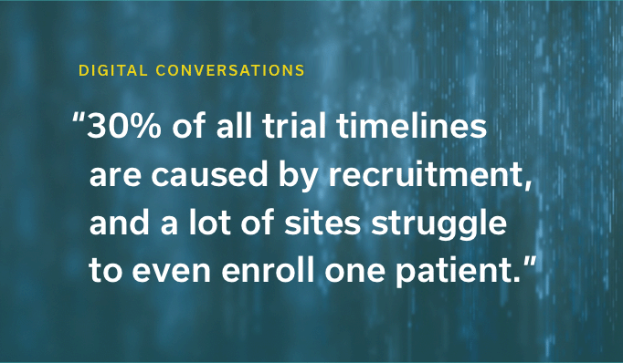 30% of all trial timelines are caused by recruitment, and a lot of sites struggle to even enroll one patient.